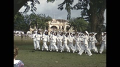 Vintage 16mm film, Malaysia 1952, sailors and soldiers on parade in Malasia - stock footage