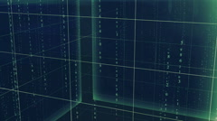 cubes background with matrix text green - stock footage