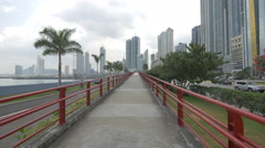 The pedestrian bridge of Cinta Costera in Panama Stock Footage
