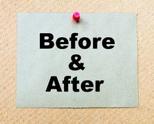 Before And After  written on paper note pinned with red thumbtack - stock photo