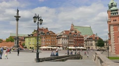 Warsaw, Poland. King Sigismund column and the market square, old town Stock Footage