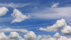 Beautiful Clouds Floating On Blue Sky Stock Footage
