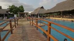 The wooden bridge of Playa Blanca Resort, Panama Stock Footage