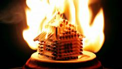 Burning match house - stock footage