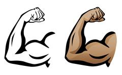 Muscular Arm Flexing Bicep Illustration Stock Illustration