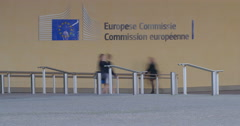Stock Video Footage of European commission time lapse people passing