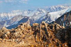 Mountain snowy landscape with rocks in Zakopane - stock photo