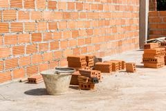 Brickwork in the new house Stock Photos