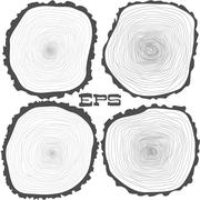 Vector tree rings background and saw cut tree trunk - stock illustration