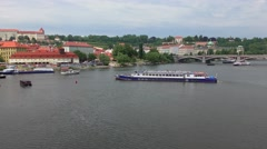 View from the Charles Bridge in Prague, Czech Republic Stock Footage