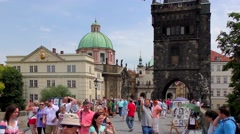 Tourists on the Charles Bridge in Prague, Czech Republic Stock Footage