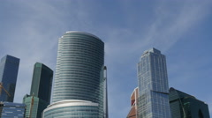 Business Center called Moscow City. Panoramic View Up to Down. Stock Footage