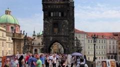 Tourists on the Charles Bridge in Prague, Czech Republic Stock Footage