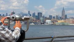 Man looking at Manhattan View 4k Stock Footage