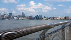 Manhattan View from New Jersey Pier 4K Stock Footage