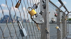 View of Padlocks and Manhattan Background 4K Stock Footage