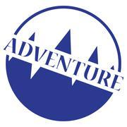 Adventure Stamp logo Blue - stock illustration