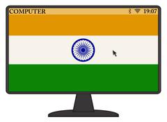 India Computer Flag Piirros
