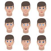 Set of variation of emotions of the same guy Stock Illustration