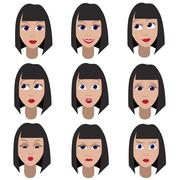 Set of variation of emotions of the same girl - stock illustration