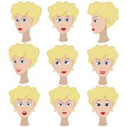Set of variation of emotions of the same girl with blonde hair Stock Illustration