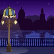 Illustration of city skyline at night: quay, fence and lamppost - stock illustration