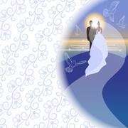 White background with bridegroom, bride, pigeons, sea, sun and sunrise in sem - stock illustration