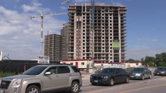 Stock Video Footage of New highrise condo construction site