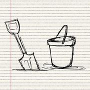 Illustration of a bucket and spade Stock Illustration