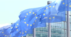 European flags waving - stock footage
