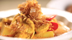 Asian Thai Tradition Curry with Chicken, Dolly shot - stock footage