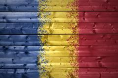 painted romanian flag on a wooden texture - stock photo