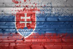 painted slovak flag on a wooden texture - stock photo