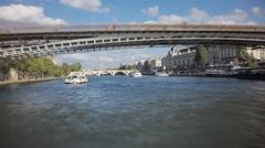 Seine river tourist boat hyperlapse Stock Footage