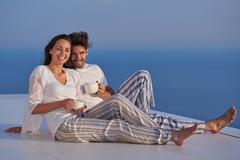 happy young romantic couple have fun arelax  relax at home - stock photo