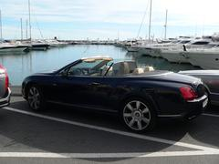 Black color convertible Bentley in Puerto Banus Stock Photos