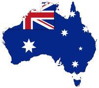 Australia Flag In Map Stock Illustration