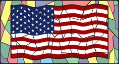 U.S.A. Flag On Stained Glass Piirros