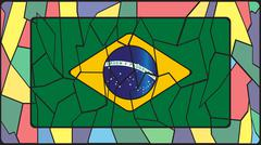 Brazil Flag On Stained Glass Window - stock illustration