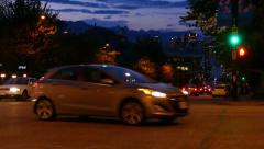Night City Traffic - Vancouver - Cambie Street Stock Footage