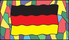 German Flag On Stained Glass Stock Illustration