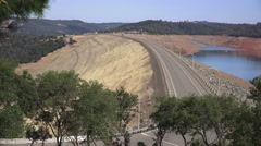 Earthen dam, Lake Oroville, California Stock Footage