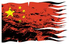Wavy Chinese Flag Grunged - stock illustration