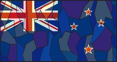 New Zealand Flag Stained Glass - stock illustration