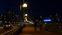 Night City Traffic - Vancouver - Cambie Bridge Stock Footage