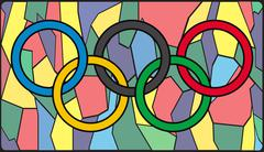 Olympic Rings On Stained Glass - stock illustration
