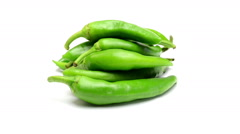 Green pepper on white background Stock Footage
