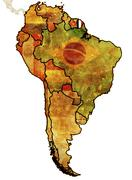 French guyana on map of south america Stock Illustration