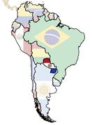 Paraguay on map of south america Stock Illustration