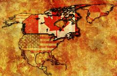 canada on political map of north america - stock illustration